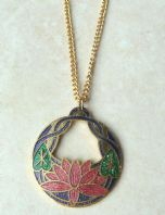 Vintage Cloisonne Enamel Water Lily Pendant With Necklace